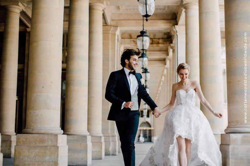 Hochzeitsanzug und Hochzeitskleid von Herschelmann. Hochzeitsanzüge in bester Paßform aus Stoffen von Scabal.